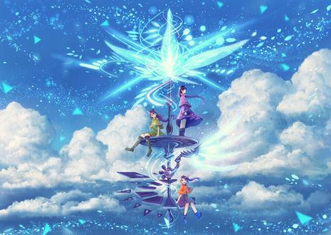 Обои Трое девушек на башне в небе, by bounin