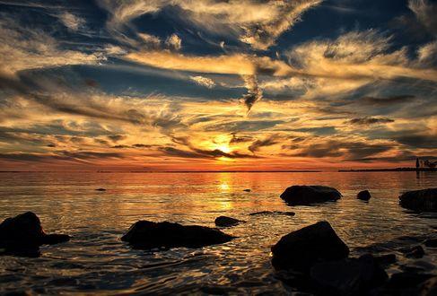 Обои Белые облака на закате над морем, by Blackfilm