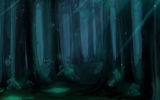 Обои Деревья в ночном лесу стоят в бликах лунного света