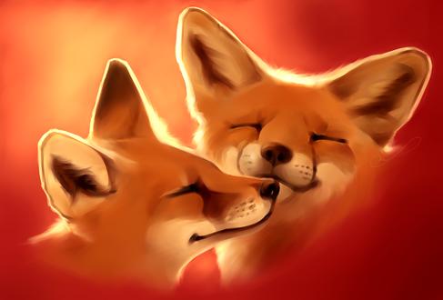 Обои Портрет двух лисичек на алом фоне, by Martith