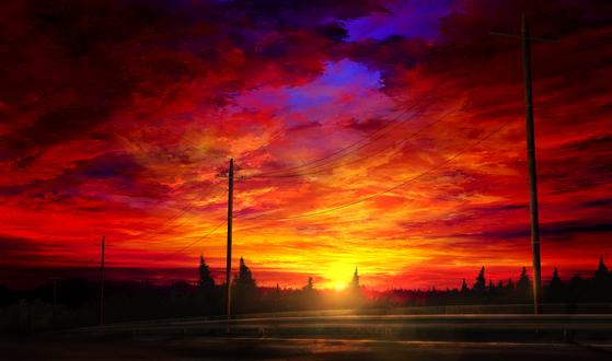 Обои Огненный красочный закат, by mks