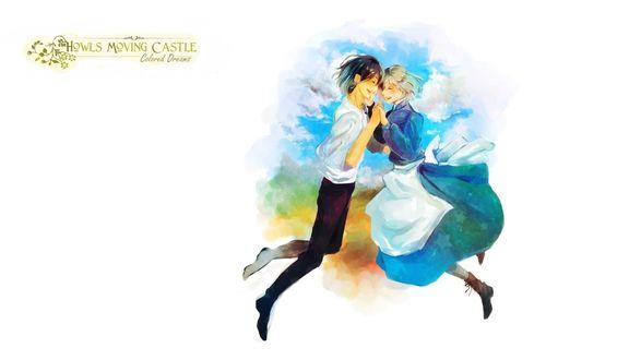 Обои Howl / Хаул и Sophie Hatter / Софи Хаттер парят в облаках из аниме Howl no Ugoku Shiro / Ходячий замок Хаула
