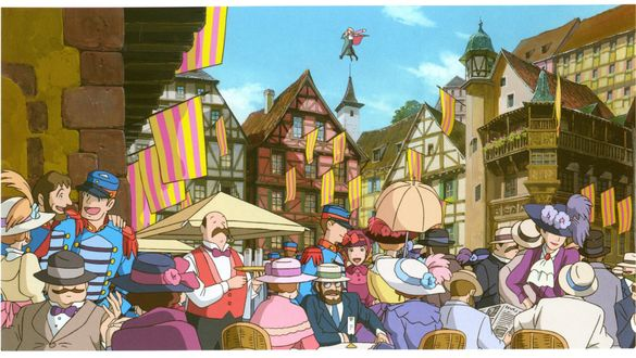 Обои Оживленное кафе на городской улице, в небе Howl / Хаул и Sophie Hatter / Софи Хаттер, из аниме Howl no Ugoku Shiro / Ходячий замок Хаула, art by Hayao Miyazaki
