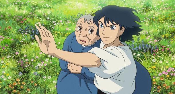 Обои Howl / Хаул и старушка Sophie Hatter / Софи Хаттер на цветущем лугу из аниме Howl no Ugoku Shiro / Ходячий замок Хаула, art by Hayao Miyazaki