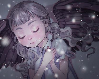 Обои Девочка с крыльями, с закрытыми глазами
