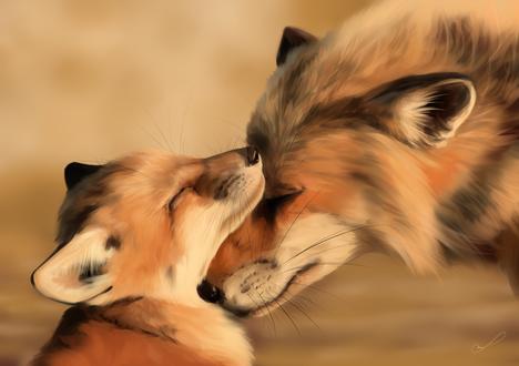 Обои Лисица приткнулась мордочкой к маленькому лисенку, by Martith