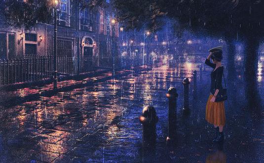 Обои Девушка, прикрывшись книгой, стоит под дождем