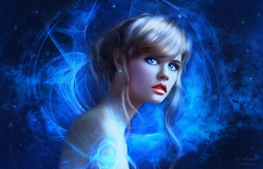 Обои Девушка с голубыми глазами на фоне космоса, by Margarita Kobzareva (Исходник - модель Анастасия Щеглова, фотограф Александр Виноградов)