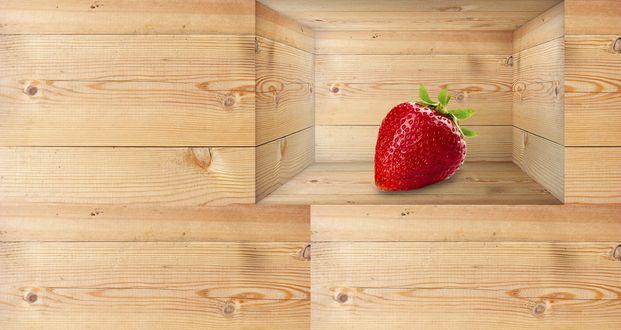 Обои Ягода клубники в углублении деревянной стенки