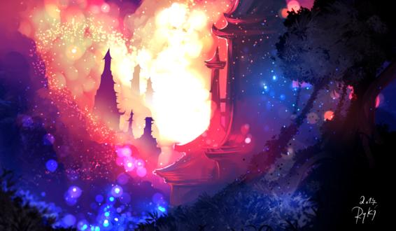 Обои Замок в ярких облаках, by ryky