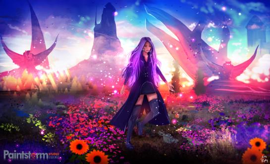 Обои Девушка с фиолетовыми волосами стоит среди цветов, by ryky