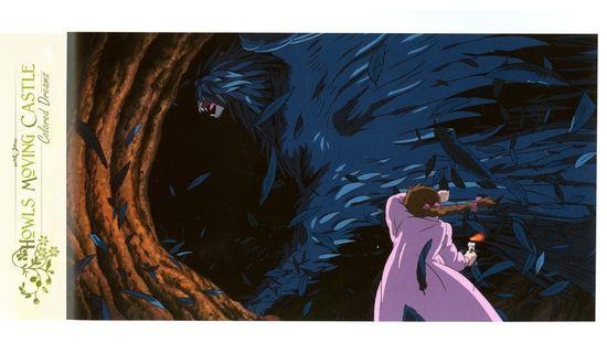 Обои Демон Howl / Хаул и Sophie Hatter / Софи Хаттер из аниме Howl no Ugoku Shiro / Ходячий замок Хаула, art by Hayao Miyazaki
