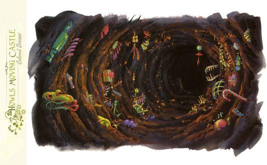 Обои Пещера с амулетами из аниме Howl no Ugoku Shiro / Ходячий замок Хаула, art by Hayao Miyazaki