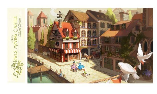 Обои Howl / Хаул, Sophie Hatter / Софи Хаттер, Markl, собака и пугало гуляют по городской улице из аниме Howl no Ugoku Shiro / Ходячий замок Хаула, art by Hayao Miyazaki