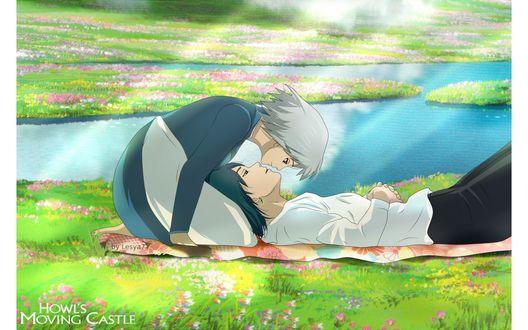 Обои Howl / Хаул и Sophie Hatter / Софи Хаттер отдыхают на цветущем лугу из аниме Howl no Ugoku Shiro / Ходячий замок Хаула, art by Hayao Miyazaki