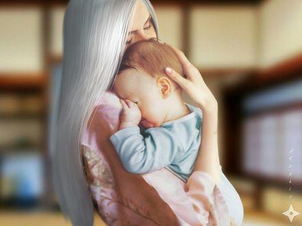 Обои Длинноволосая девушка с ребенком на руках, by AKoukis