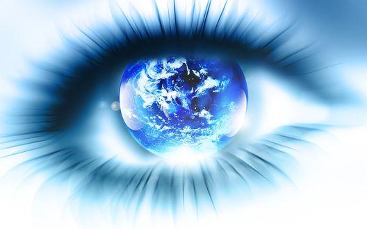 Обои Глаз со зрачком в виде голубой планеты Земля