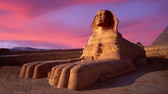 Обои Великий сфинкс на фоне вечернего неба, Каир, Египет