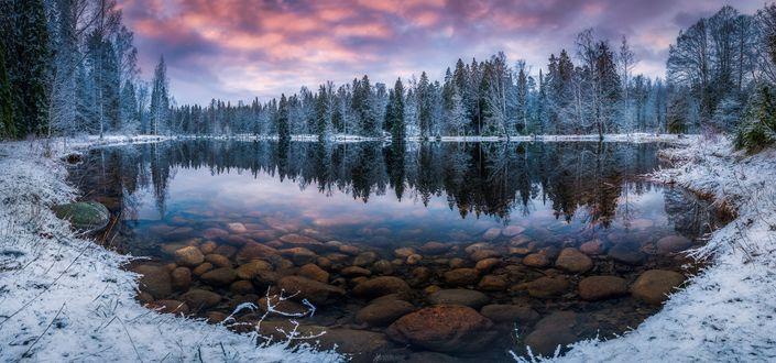 Обои Озеро у заснеженного леса