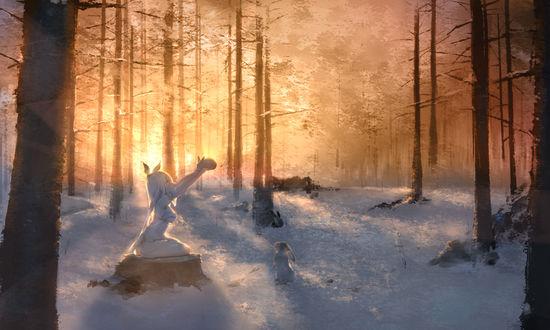 Обои Девушка в зимнем лесу держит кролика в руках, автор Аme