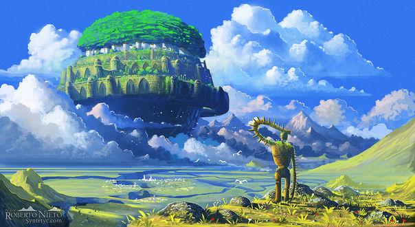 Обои Робот смотрит на небесный замок Лапута, автор Syntetyc