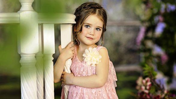 Обои Милая девочка в розовом платье с цветком на фоне природы