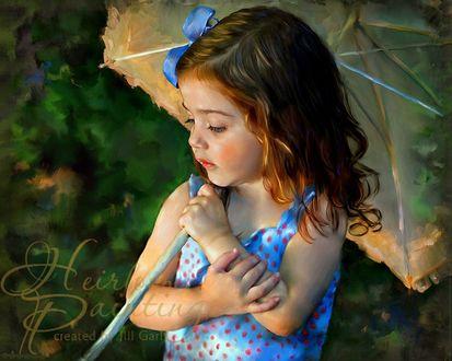 Обои Милая девочка с бантиком на волосах и с зонтиком на фоне природы, by Jill Garl