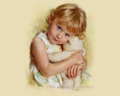 Обои Портрет светловолосой девочки с игрушечным мишкой, by Jill Garl