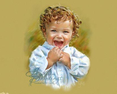 Обои Портрет светловолосого кудрявого смеющегося мальчика, by Jill Garl
