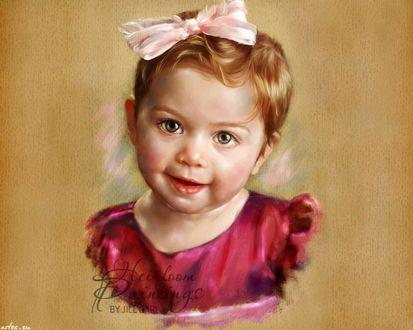 Обои Портрет девочки с бантиком, by Jill Garl