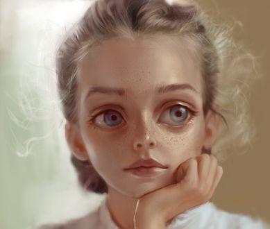 Обои Девочка с огромными глазами, by Ilse Harting