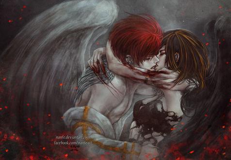 Обои Поцелуй ангелов, by NanFe