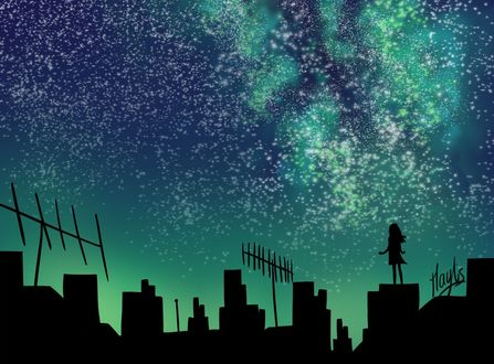 Обои Девушка стоит на крыше дома на фоне звездного неба, by Wandering-Minstrell
