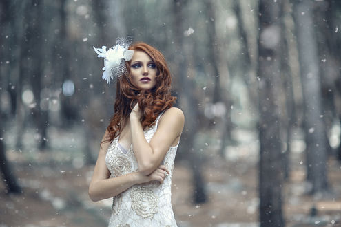 Обои Рыжеволосая девушка с украшением на волосах на размытом фоне леса, by Alessandro Di Cicco