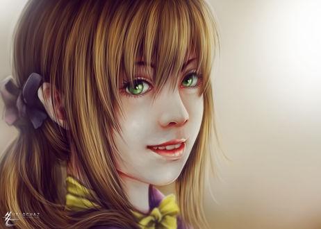 Обои Портрет улыбающейся девушки с зелеными глазами, by helochaz