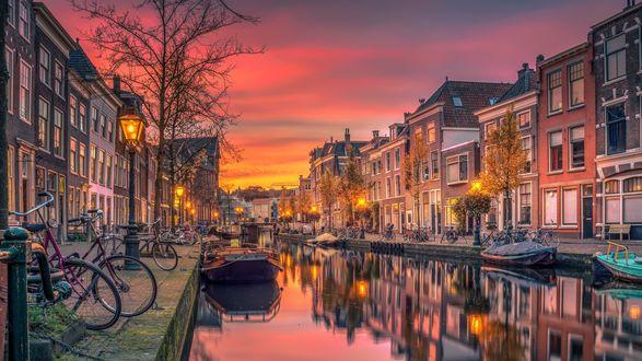 Обои Вечерняя улица города, Нидерланды