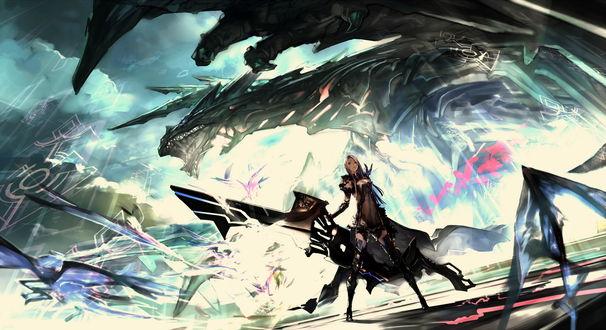 Обои Девушка в боевом облачении со странным оружием стоит на фоне гигантского механического дракона, автор Gorilla / Mushimushiland
