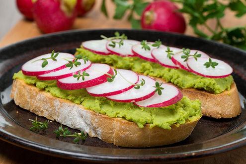 Обои Тарелка с сендвичем с салатом и редисом