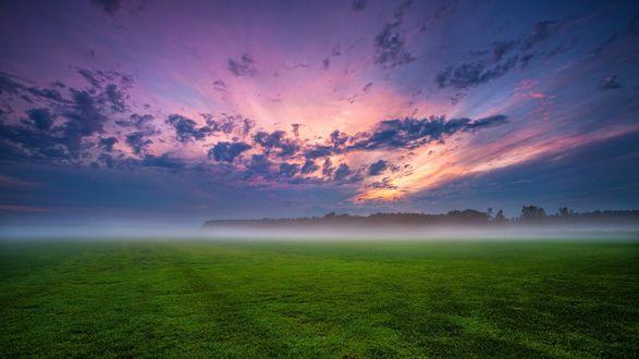 Обои Рассвет, туман стелется по полю