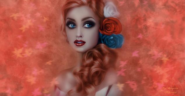 Обои Голубоглазая девушка с розами на волосах, на фоне осенних листьев, by Margarita Kobzareva