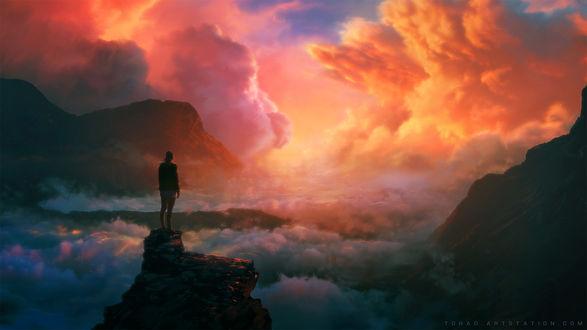 Обои Девушка стоит на фоне облачного неба, by Tohad