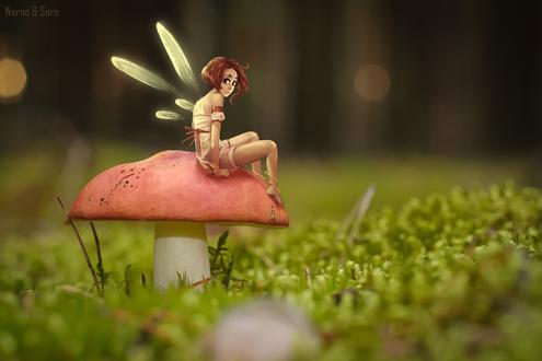 Обои Рыжеволосая эльфийка сидит на грибе, растущем на лужайке, by Wernope