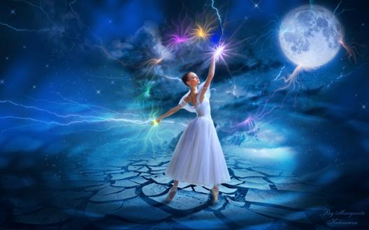 Обои Девушка - балерина со светящейся магией в руках на фоне звездного неба и луны, by Margarita Kobzareva