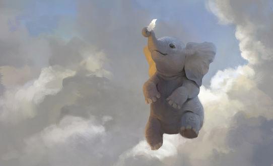 Обои Слон с перышком на фоне облаков, by Leesha Hannigan