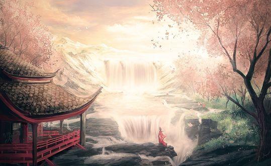 Обои Девушка в кимоно стоит у водопада,