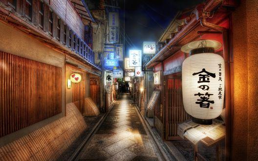 Обои Одна из улиц Японии вечером