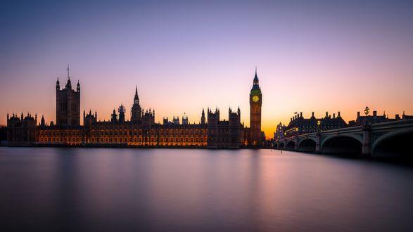 Обои Город Лондон под вечерним небом, Великобритания