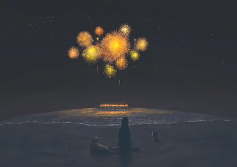 Обои Девушка и собака на морском берегу смотрят на фейерверк в ночном небе