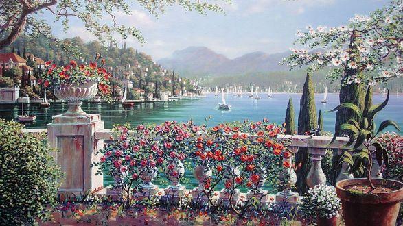 Обои Терраса в Белладжио, Италия / Terrace in Bellagio, Italy, картина, живопись, художник Боб Пейман / Bob Pejman, вид на залив с яхтой