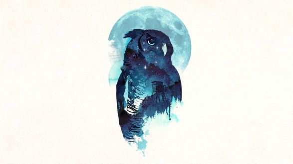 Обои Изображение совы на фоне ночного пейзажа с наблюдательной вышкой и полной луны